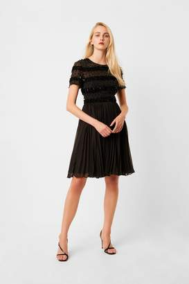 French Connection Womens Black Brooke Sparkle Embellished Pleated Dress - Black