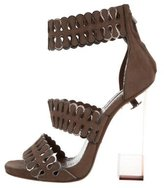 Alaia Platform Suede Sandals
