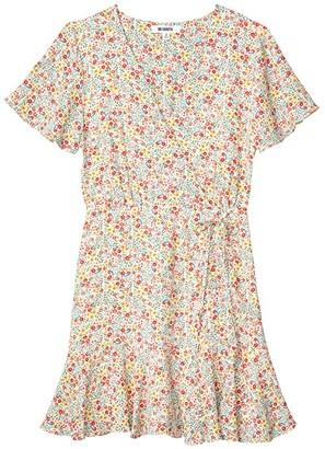 BB Dakota Flower On 'Tea Party Floral' Print Bubble Crepe Dress (Vanilla) Women's Dress