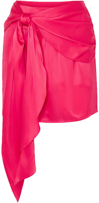 Mason by Michelle Mason Draped Silk-charmeuse Mini Skirt