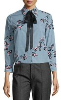 Marc Jacobs Floral Gingham Tie-Neck Blouse, Green/Multi
