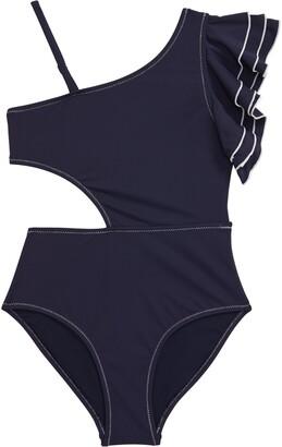 Habitual Ruffle One-Shoulder Swimsuit