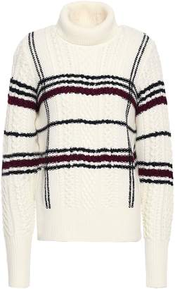 Joie Checked Cable-knit Wool-blend Turtleneck Sweater
