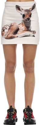 Burberry Bambi Print Gabardine Mini Skirt