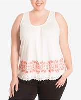 Eyeshadow Trendy Plus Size Crochet-Trim Tank Top
