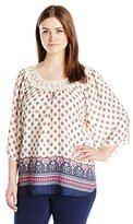 Eyeshadow Women's Printed Peasant Top with Applique Neck Trim