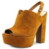 Jessica Simpson Rel Women Open Toe Suede Brown Platform Heel.