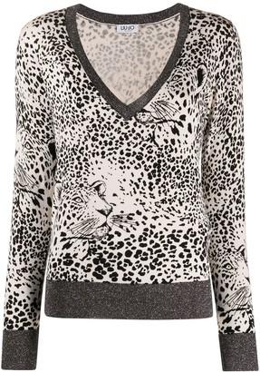 Liu Jo Leopard-Print V-Neck Top