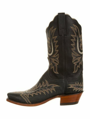 Lucchese Leather Printed Western Boots Black