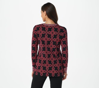 Susan Graver Printed Liquid Knit Split-Neck Tunic