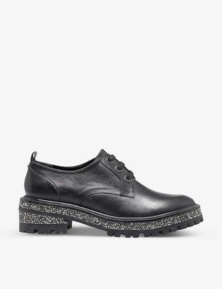 Dune Franka embellished leather Derby shoes