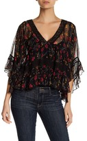 Free People Bell Sleeve Floral Print Crochet Lace Trim Blouse