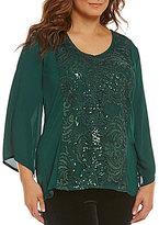 "Reba Plus ""Holiday Gems"" 3/4 Sleeve Sequin Lace Tunic"