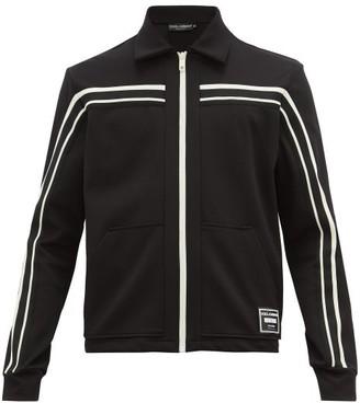 Dolce & Gabbana Logo-patch Striped Stretch-twill Jacket - Mens - Black