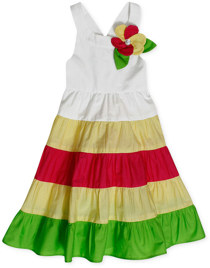 Bonnie Jean Kids Dress, Little Girls Colorblock Hem Dress