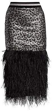 Le Superbe Women's Marmont Sequin Leopard Fringe Feather Pencil Skirt
