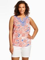 Talbots Embroidered Dotted Flowers Top