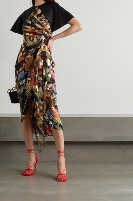 LANVIN - Wrap-effect Floral-print Silk-satin Midi Dress - Black