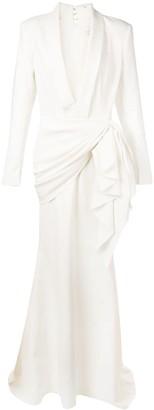 Christian Siriano deep V-neck gown