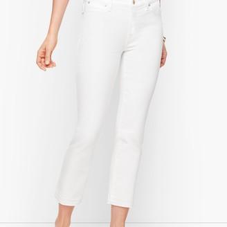 Talbots Straight Leg Crop Jeans - Dropped Hem White