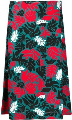 Marni botanical-print A-line skirt