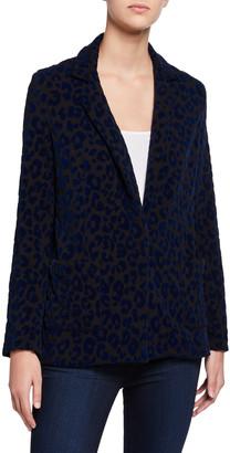 Majestic Filatures Leopard-Print One-Button Blazer