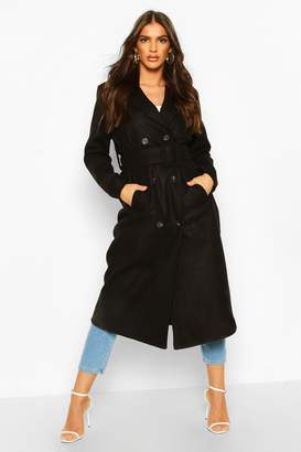 boohoo Covered Buckle Belted Wool Look Trench Coat