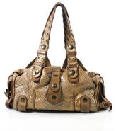 Chloé AUTH Brown Gold Metallic Python Pewter Tone Silverado Satchel Handbag