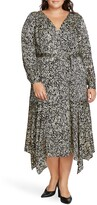 Vince Camuto Petal Print Asymmetrical Hem Dress