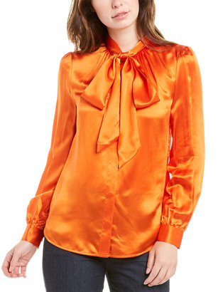 Tory Burch Bow Silk-Blend Top
