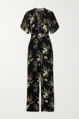 Reformation Lemongrass Floral-print Georgette Jumpsuit - Navy