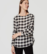 LOFT Plaid Button Back Blouse