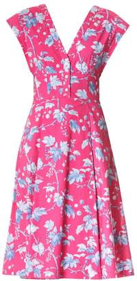 Carolina Herrera Floral Cap-Sleeve A-Line Dress