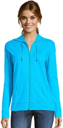 Hanes Women's Slub Jersey Full Zip Hooded Sweatshirt