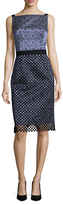Oscar de la Renta Silk Printed Overlayer Sheath Dress