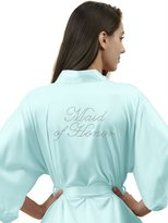 SIORO Personalized Satin Robes Bridal Wedding Party Pajamas Night Gowns Maid of Honor, Mist, L
