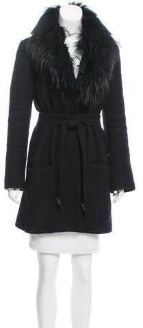 Diane von Furstenberg Victoria Fur-Trimmed Coat