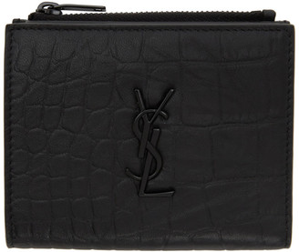 Saint Laurent Black Croc Card Holder