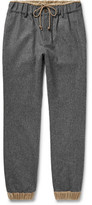 Sacai Slim-fit Tapered Velour-trimmed Melton Wool Trousers - Dark gray