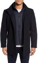 Vince Camuto Men's Classic Wool Blend Car Coat With Inset Bib