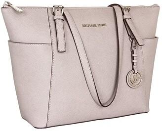 MICHAEL Michael Kors Jet Set Saffiano Top-Zip Tote (Pearl Grey) Tote Handbags