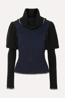 J.W.Anderson Two-tone Ribbed-knit Turtleneck Sweater - Navy