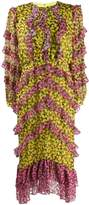 Saloni Fantasy floral-print dress