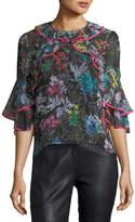 Peter Pilotto Botanical Floral-Print Silk Top