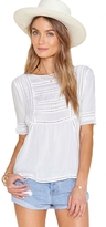 Amuse Society St. Germain Short Sleeve Lace Inset Top