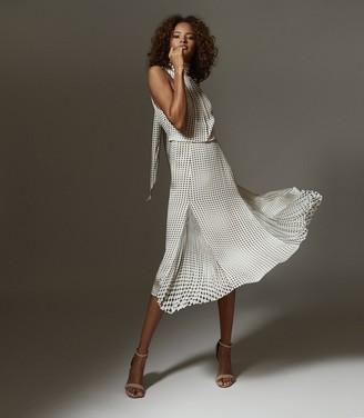 Reiss JENNA PRINTED MIDI DRESS Black/white