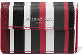 Balenciaga Striped Textured-leather Wallet - one size