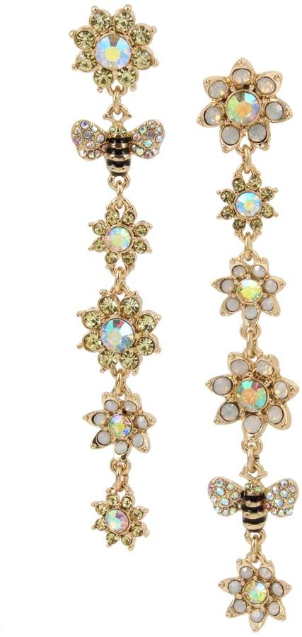 51974232033ca Bee Mine Flower Bumble Bee Goldtone Crystal Mismatched Linear Drop Earrings