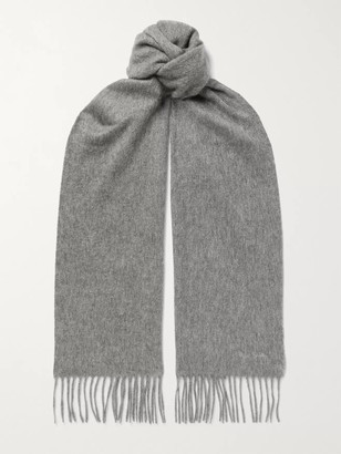 Paul Smith Logo-Embroidered Fringed Cashmere Scarf