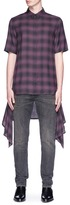 Helmut Lang Detachable hem ombré check plaid short sleeve shirt